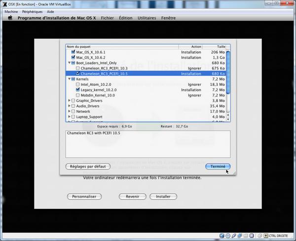 Choix Kernel VirtualBox – Mac OS X sur votre PC (Windows)