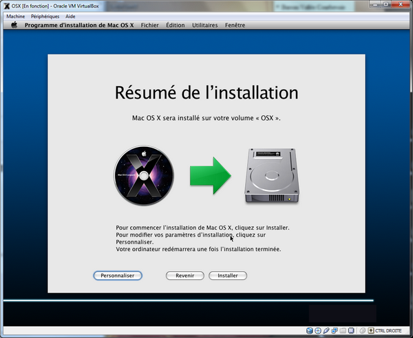 Resume Install VirtualBox – Mac OS X sur votre PC (Windows)