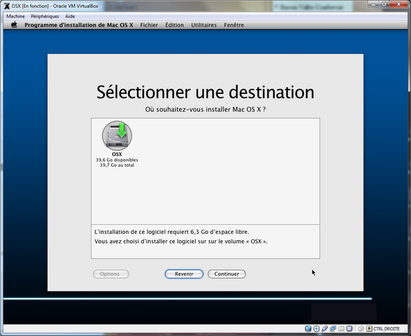 Select Partition VirtualBox – Mac OS X sur votre PC (Windows)