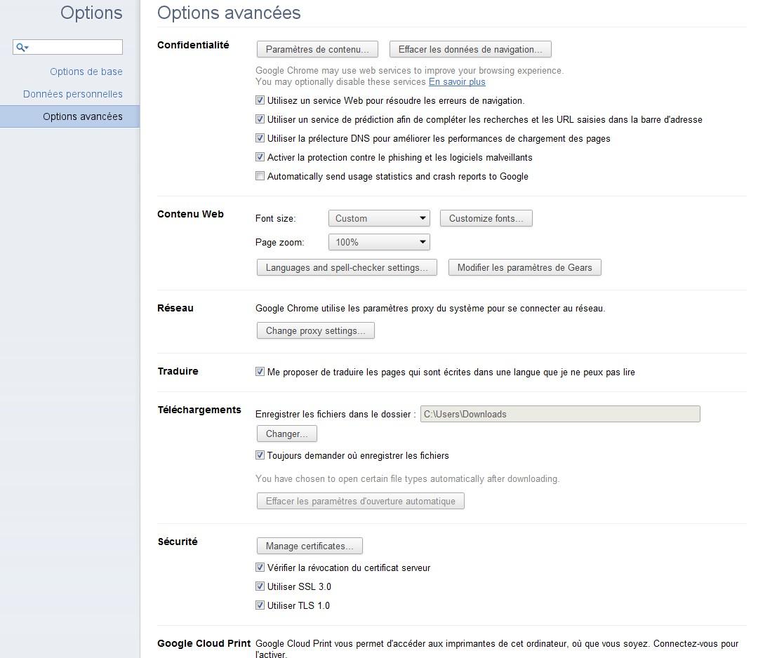 Options Google Chrome 11