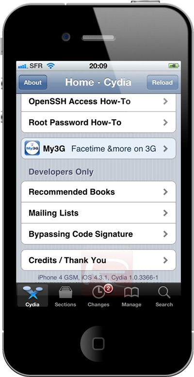 Cydia iOS 4.3.1