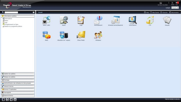 interface admin thecus