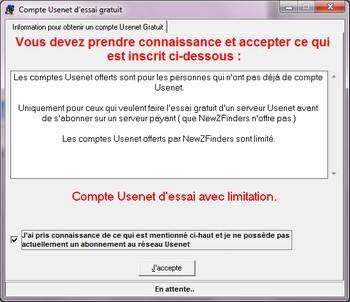 Accepter Compte Usenet gratuit