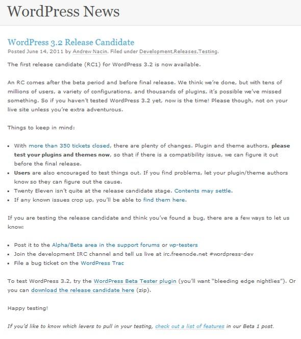 WordPress 3.2 RC1