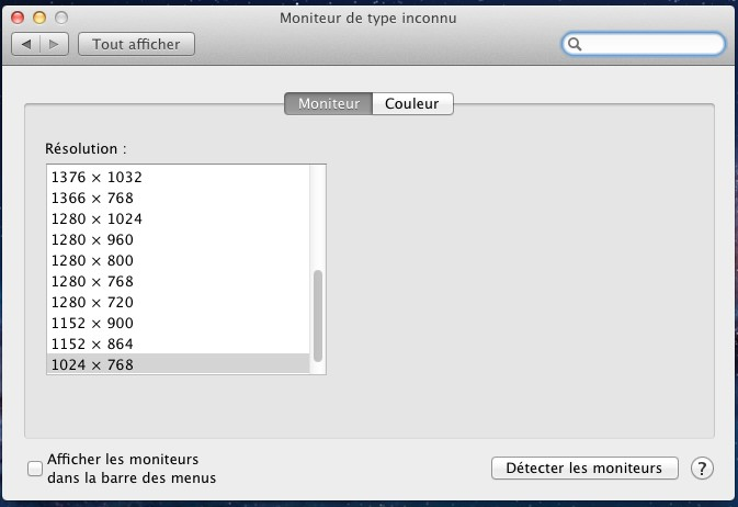choix de la resolution VMware – Mac OS X Lion sur votre PC (Windows)