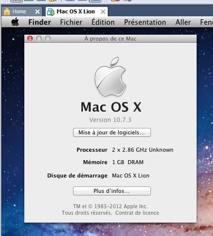 Mac OS X 10.7.3 Mac OS X 10.7.3 sur PC avec VMware