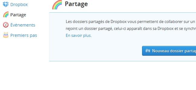 Partage DropBox Dropbox permet le partage avec vos amis