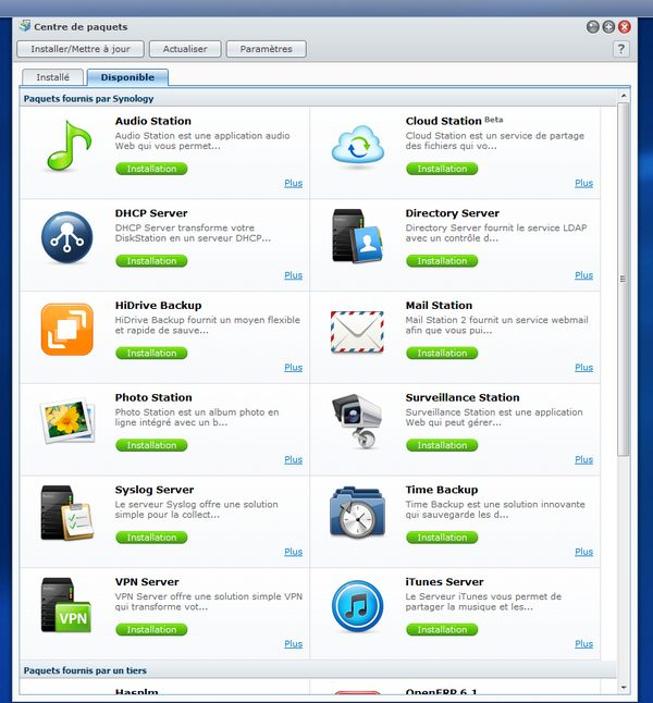 paquets application Synology NAS DSM Test du Synology DS412+
