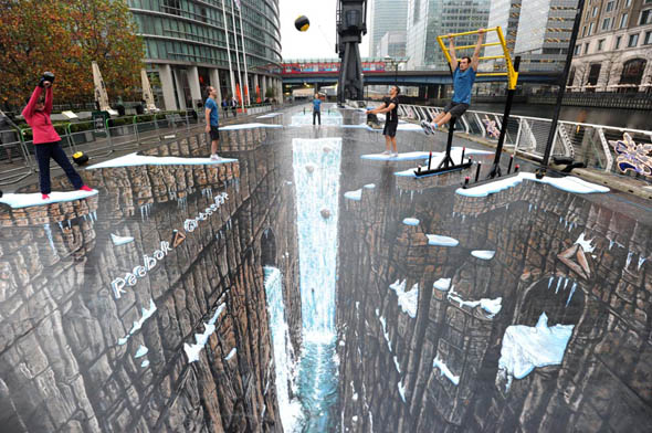 reebok world record chalk drawing 3d Site illusion doptique