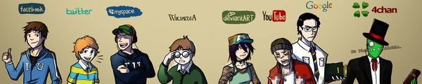bandeau facebook twitter myspace wikipedia deviantArt YouTube Google 4chan