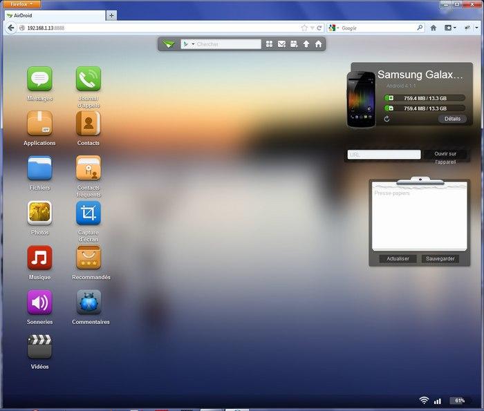 interface AirDroid Prenez le contrôle de votre mobile avec AirDroid