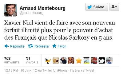 tweet Arnaud Montebourg Free Hausse des forfaits mobiles