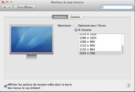 resolution ecran VMware – OS X 10.8 Mountain Lion sur PC Windows