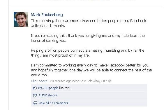 Message Mark Zuckerberg Facebook   Le milliard, le milliard...
