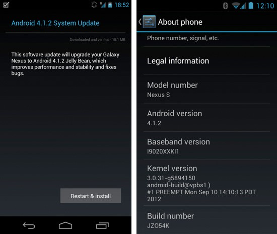 android 412 galaxy nexus and nexus s Android 4.1.2 arrive via OTA