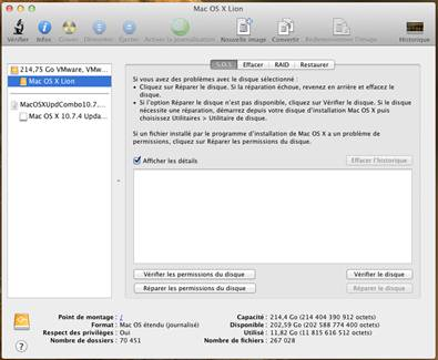 controle reparation VMware   Mac OS X 10.7.4 sur PC