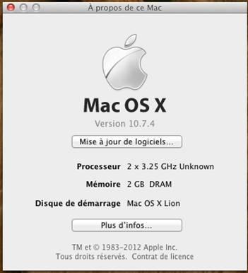 mac os x 10.7.4 vmware VMware   Mac OS X 10.7.4 sur PC