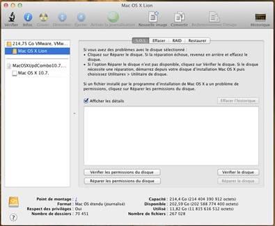 utilitaire disque VMware OS X 10.7.5 sous Windows