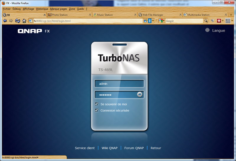 04 new login Test du NAS QNAP TS 469L et firmware 3.8