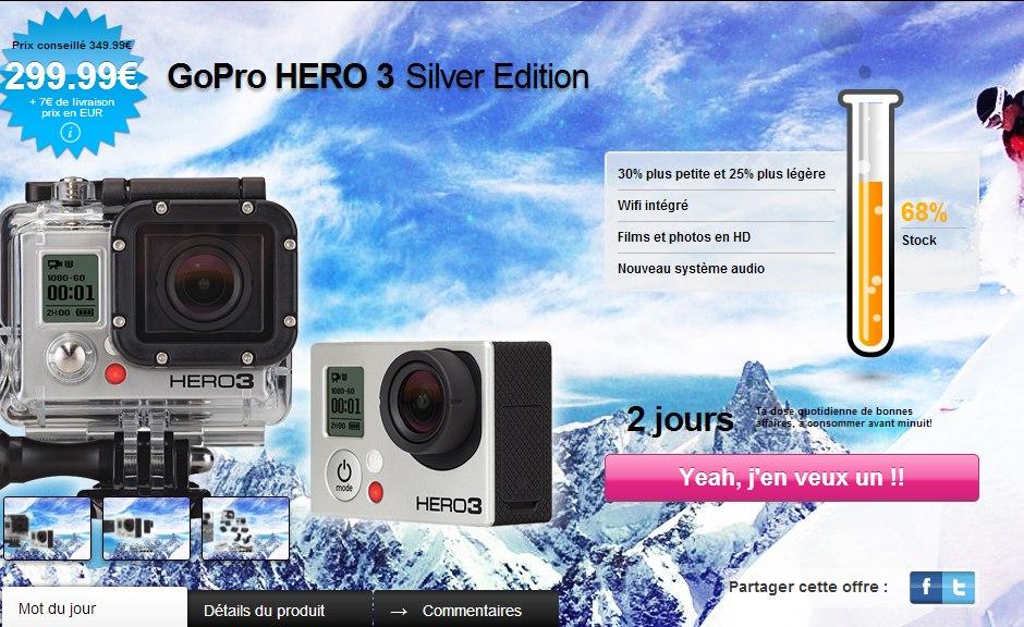 GoPro Hero 3 299 euro GoPro HERO3 moins cher