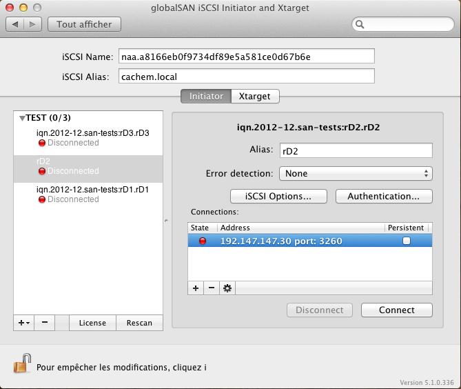 Initiateur iSCSI MacOSX Param 22 Installer 2 serveurs de données (SAN) répliqués avec OpenMediaVault et DRBD