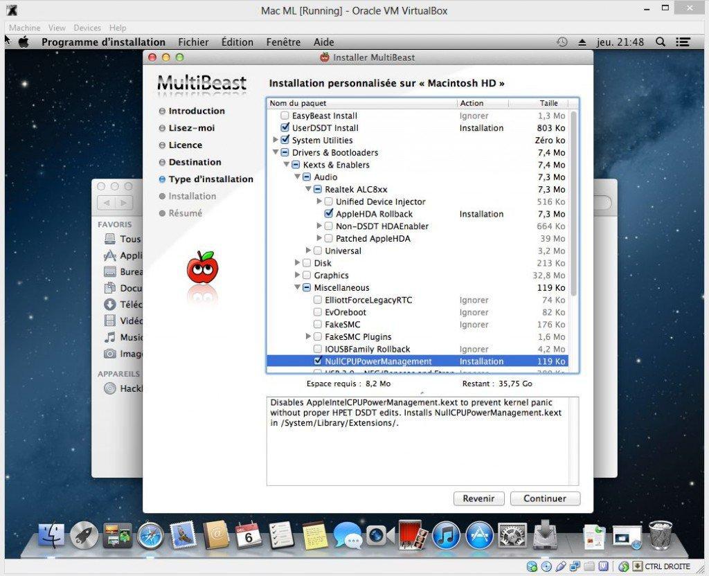 MultiBeast installation personnalisee 1024x832 Comment installer OS X sur votre PC avec VirtualBox ?