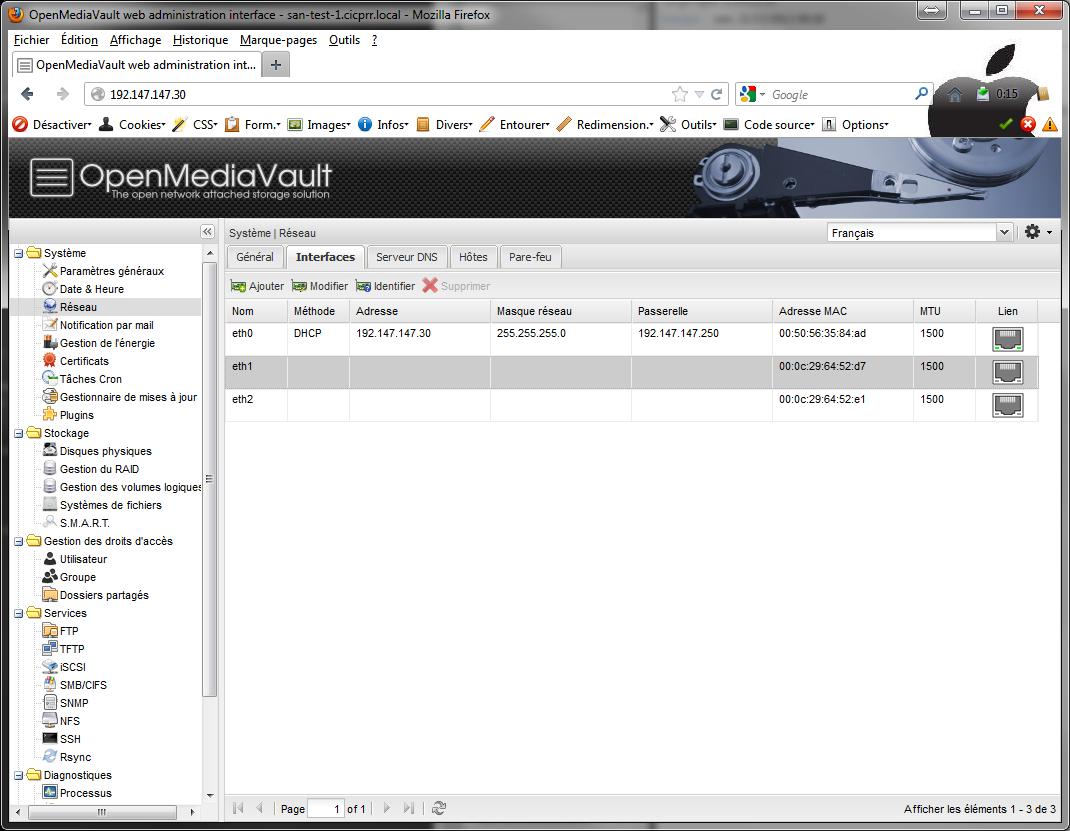 Network 1 Installer 2 serveurs de données (SAN) répliqués avec OpenMediaVault et DRBD