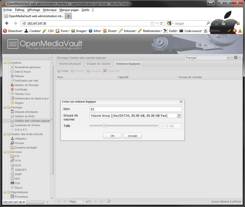 OpenMediaVault LVM LV select Installer 2 serveurs de données (SAN) répliqués avec OpenMediaVault et DRBD