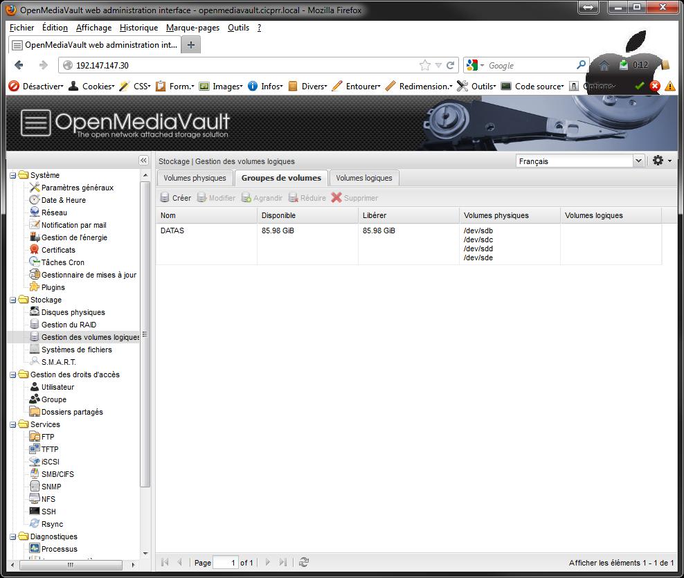 OpenMediaVault LVM VG created Installer 2 serveurs de données (SAN) répliqués avec OpenMediaVault et DRBD