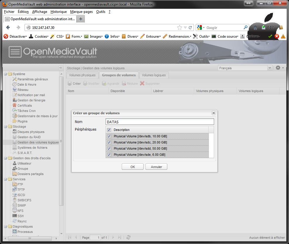 OpenMediaVault LVM VG select PV Installer 2 serveurs de données (SAN) répliqués avec OpenMediaVault et DRBD
