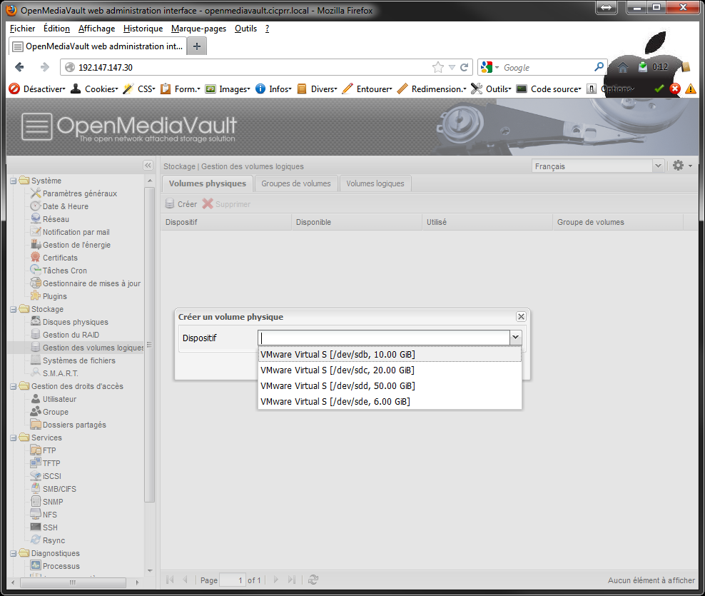 OpenMediaVault_LVM_sélection_disque