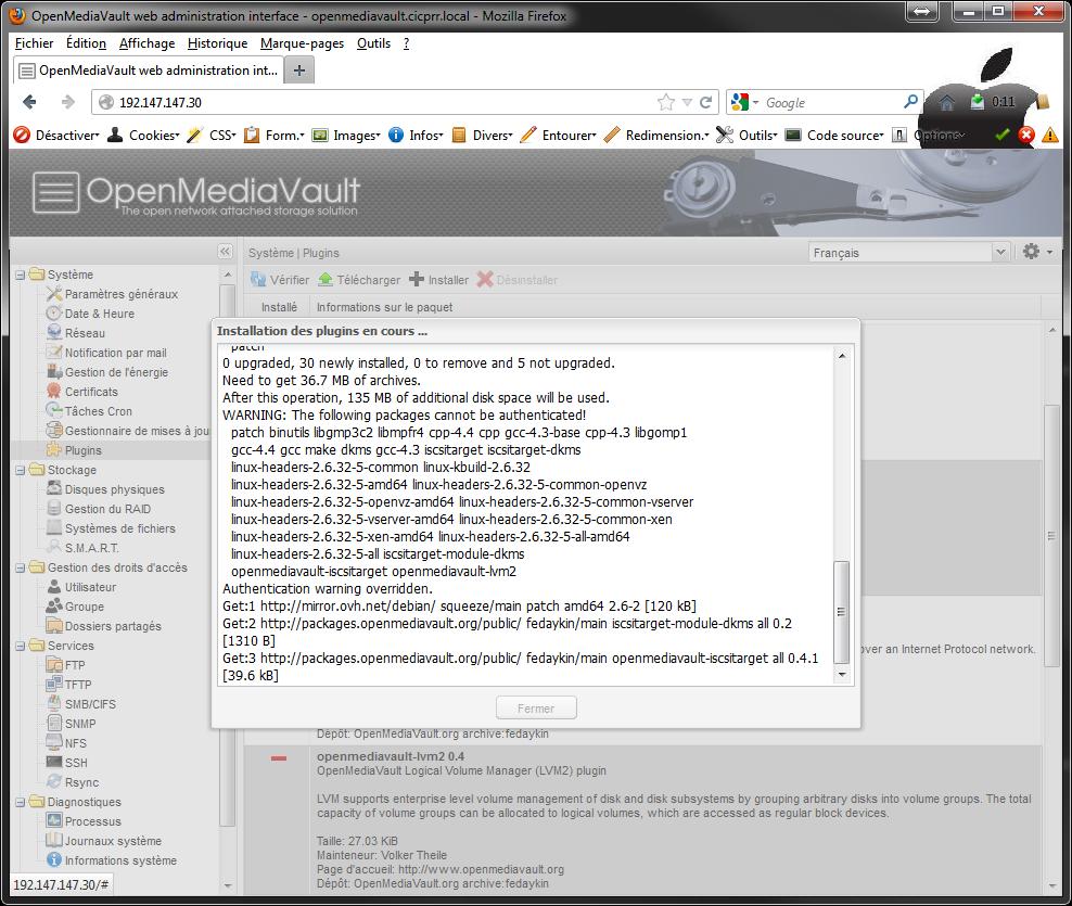 OpenMediaVault plugins install start Installer 2 serveurs de données (SAN) répliqués avec OpenMediaVault et DRBD