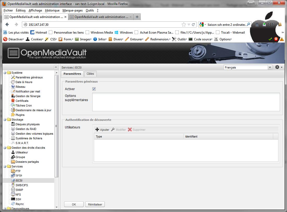 iSCSI1 Installer 2 serveurs de données (SAN) répliqués avec OpenMediaVault et DRBD