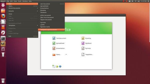 Unity menu LibreOffice