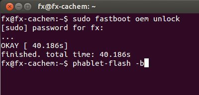 command fastboot et phablet flash Installer Ubuntu Touch en 4 étapes