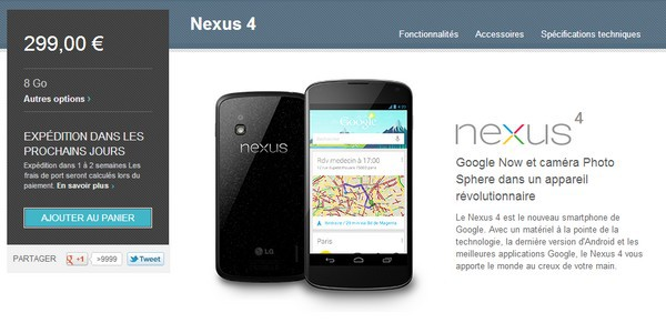 google nexus 4 1 million de Nexus 4 vendus