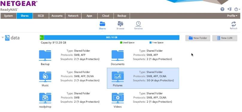 readynas OS 6 gestionnaire de partage
