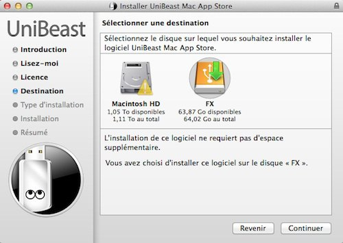 choix installation uniBeast Installer OS X Mavericks sur PC