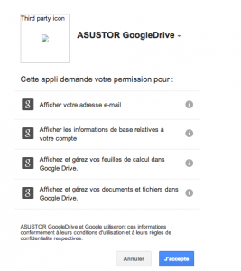 Google Drive autorisations