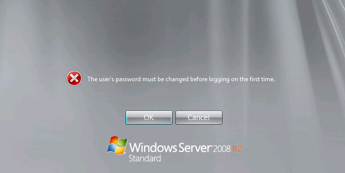 the user's password must be changed