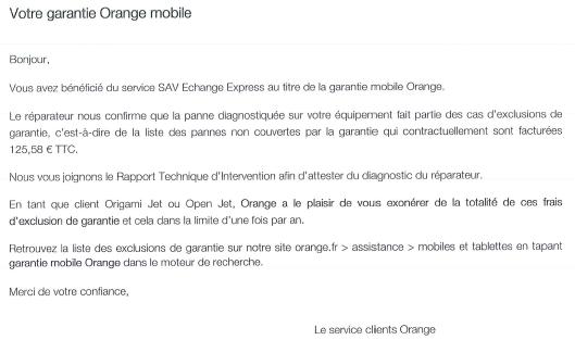 Lettre Retour SAV Orange