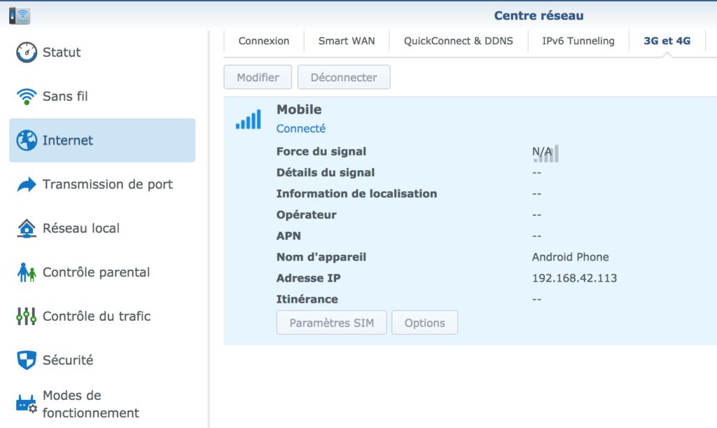 Centre Réseau - Clé 3G 4G